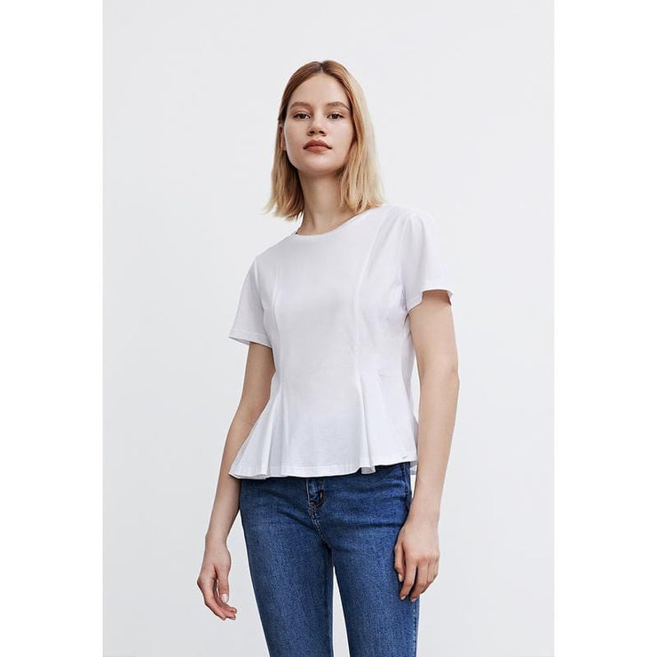 Falbala Round Neck Blouse - Urban Revivo Fashion