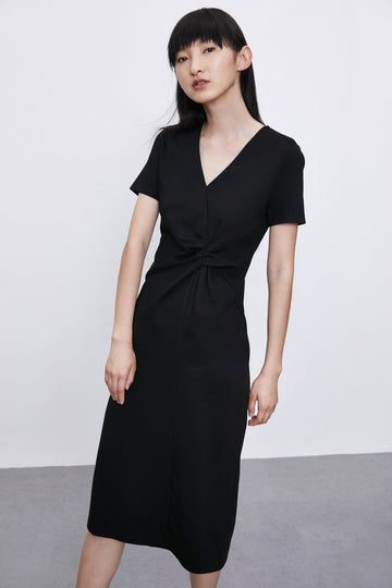 SHORT SLEEVE PLAIN MIDI WRAP DRESS - Urban Revivo Fashion