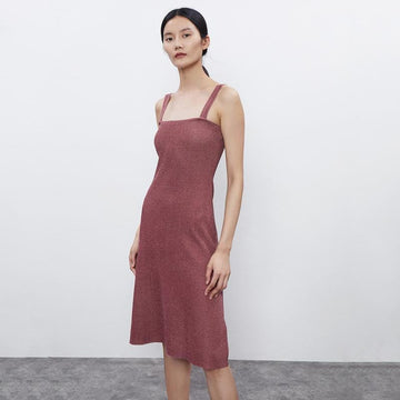 Off-Shoulder Spaghetti Strap Knitted Midi Dress - Urban Revivo Fashion