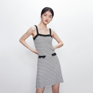 Color Block Plaid Spaghetti Trap Mini Dress - Urban Revivo Fashion