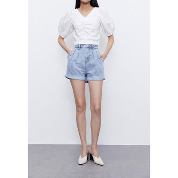 LOOSE RUCHED FRILL SHORTS - Urban Revivo Fashion