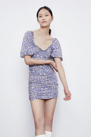 PUFF SLEEVE FLORAL MINI DRESS - Urban Revivo Fashion