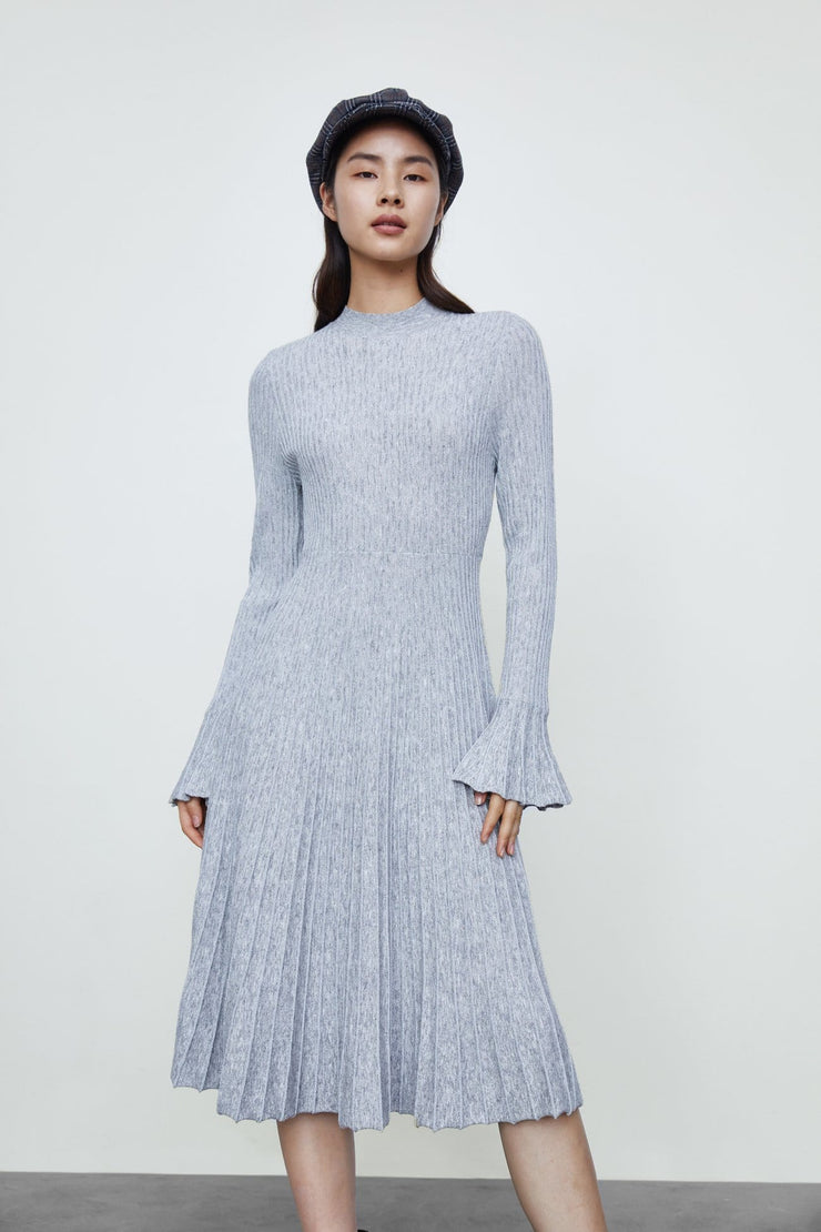 Round Neck Knitted One Piece Dress - Urban Revivo Fashion