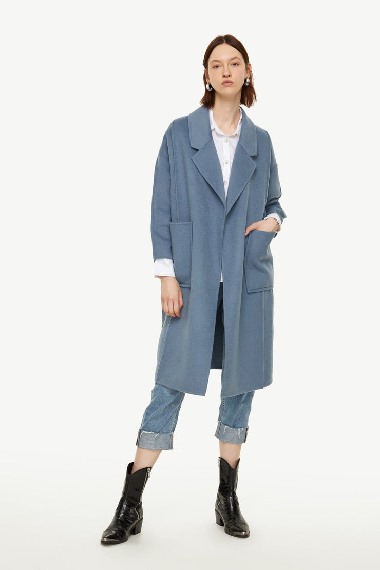 Solid Color Lapel Coat - Urban Revivo Fashion