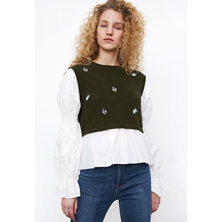 Trendy Printed Patchwork Knitted T-shirt - Urban Revivo Fashion