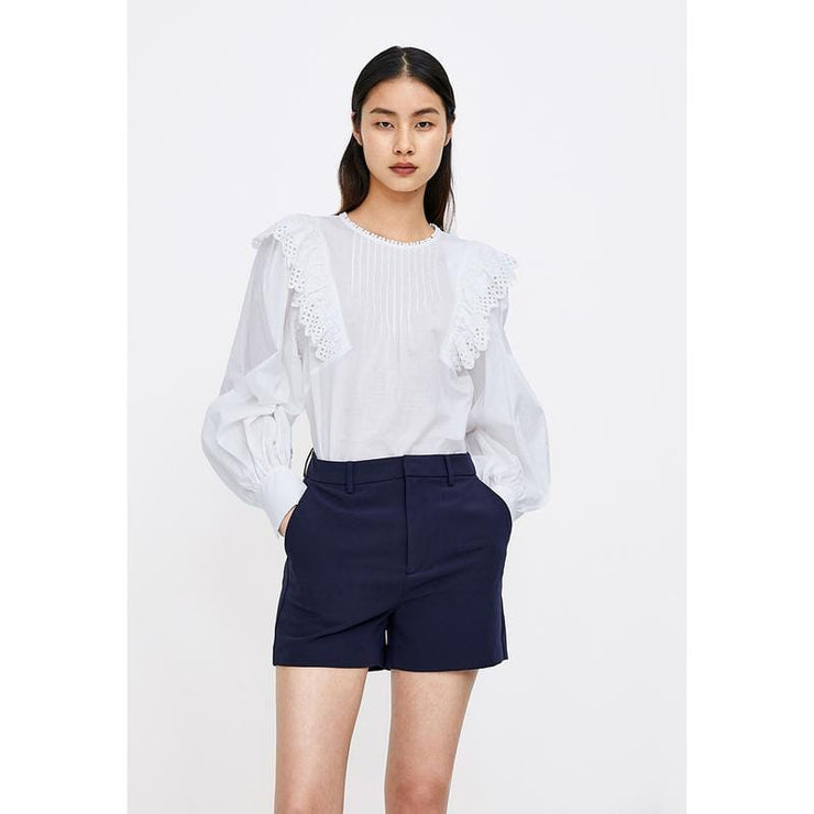 ROUND NECK LANTERN SLEEVE BLOUSE - Urban Revivo Fashion