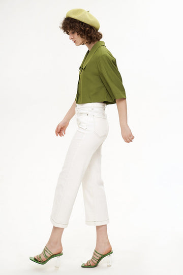 GREEN LAPEL SHORT SLEEVE CROP JACKET - Urban Revivo Fashion