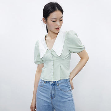Poplin Collar Balloon Sleeve Blouses - Urban Revivo Fashion