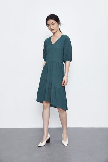 MODERN V-NECK DRESS - Urban Revivo Fashion