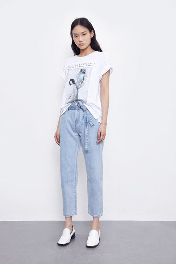 CONTRACTED BAGGY DENIM JEANS WITH LACE-UP - Urban Revivo Fashion