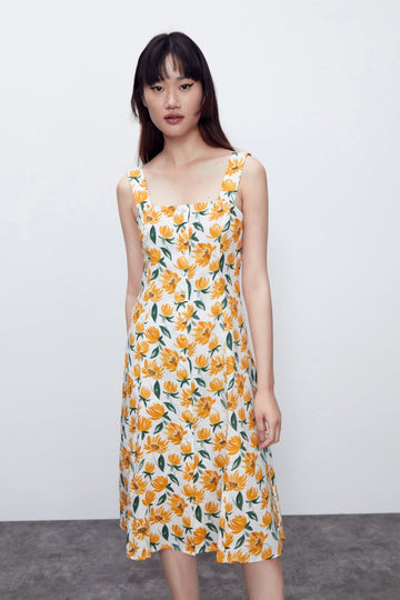 SUNFLOWER SLEEVELESS DRESS - Urban Revivo Fashion