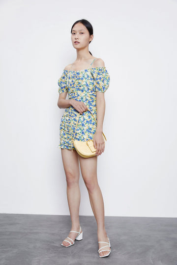FLORAL PUFF SLEEVE MINI DRESS - Urban Revivo Fashion