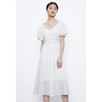 SQAURE NECK PUFF SLEEVE MAXI DRESS - Urban Revivo Fashion