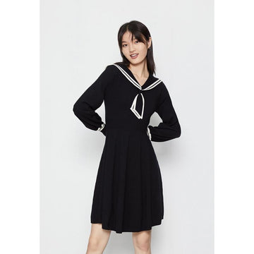 SAILOR COLLAR LONG SLEEVE MIDI DRESS - Urban Revivo Fashion