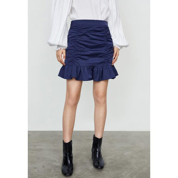 PLAIN RUCHED FRILL MERMAID SKIRT - Urban Revivo Fashion