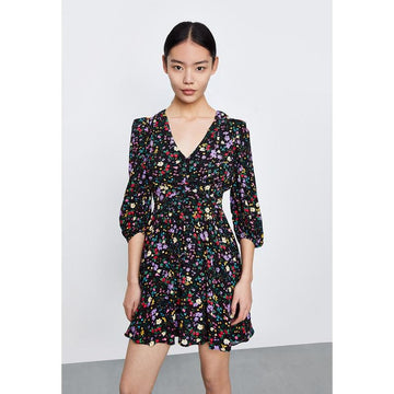 FLORAL PUFF SLEEVE V-NECK MINI DRESS - Urban Revivo Fashion
