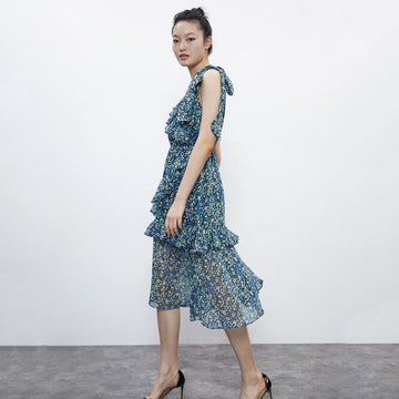 FLORAL ASYMMETRICAL LAYERED MIDI DRESS - Urban Revivo Fashion