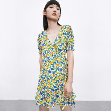 FLORAL PRINTED V-NECK MINI DRESS - Urban Revivo Fashion