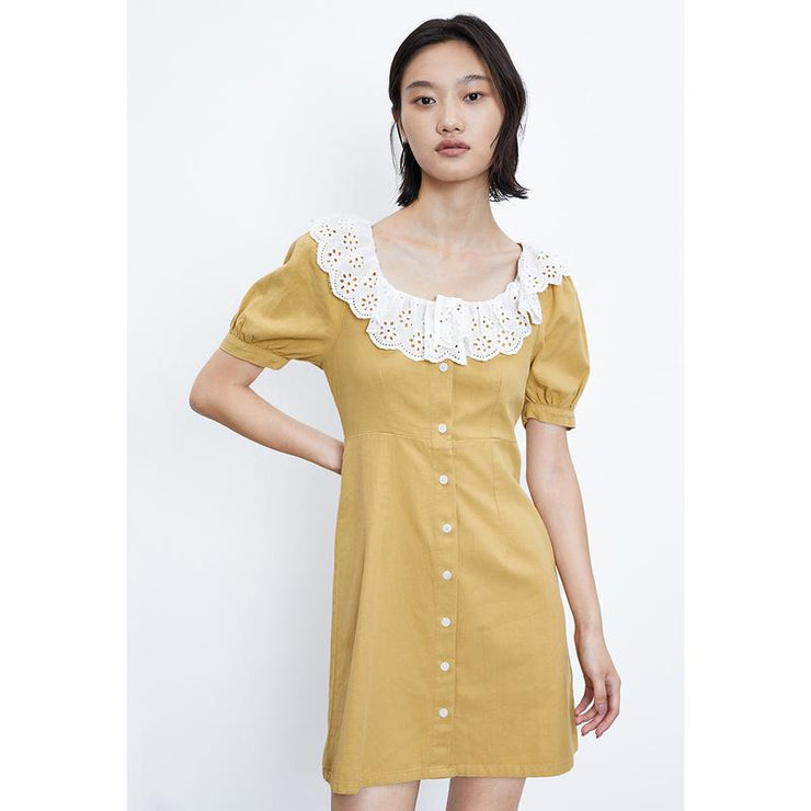 PUFF SLEEVE BUTTON UP MINI DRESS - Urban Revivo Fashion