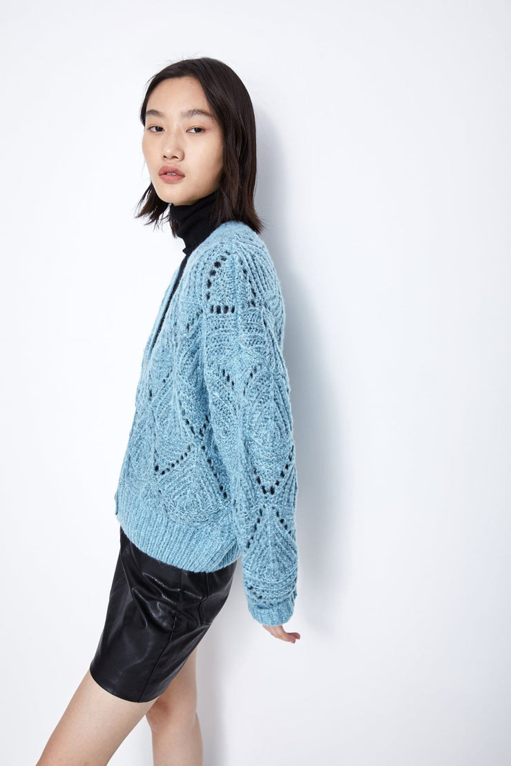 HOLLOW KNITTED JACKET - Urban Revivo Fashion