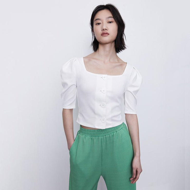 PLAIN BUTTON LEG OF MUTTON SLEEVE TOP - Urban Revivo Fashion