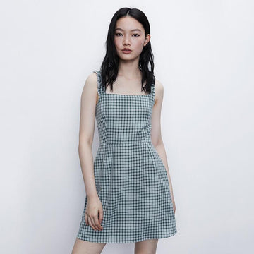 PLAID SPAGHETTI STRAP MINI DRESS - Urban Revivo Fashion