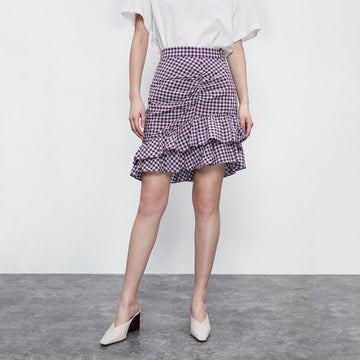 PLAID RUCHED RUFFLE MINI SKIRT - Urban Revivo Fashion