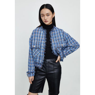 TWEED PLAID BUTTON UP CROP JACKET - Urban Revivo Fashion