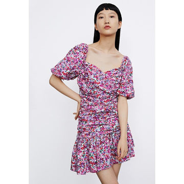 FRENCH STYLE FLORAL SQUARE NECK MINI DRESS - Urban Revivo Fashion