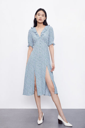 POLKA DOTS VENTED V-NECK DRESS - Urban Revivo Fashion