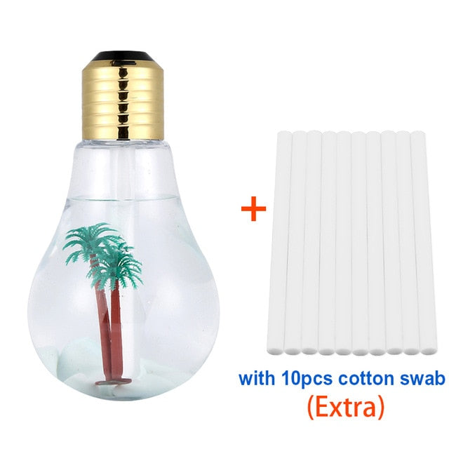 Light bulb design Humidifier / Oil Diffuser 400ML plus bonus 10 cotton filters