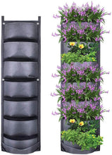 Load image into Gallery viewer, 7 pockets vertical wall mounted hanging grow pockets Black or Green