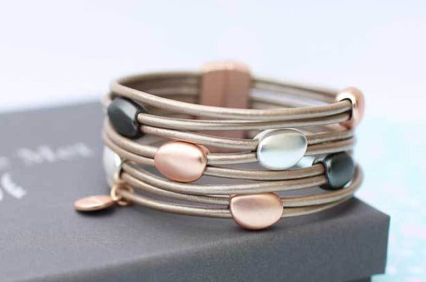 Leather Pebble Bracelet - Wear We Met