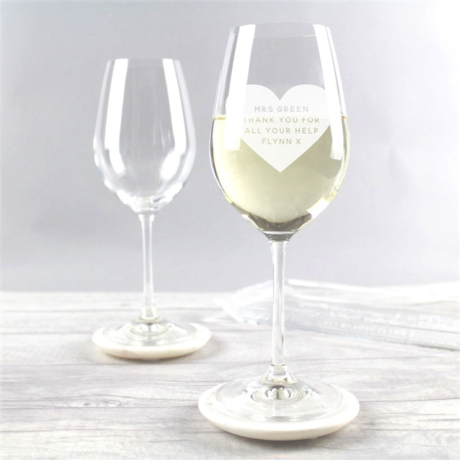Personalised wine glass for the teacher. Engrave any personal message on the front within the heart design, we can engrave up to 75 characters.