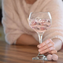 Load image into Gallery viewer, This classic Copa de Balon gin glass can be engraved with up to 25 characters of your choice.   FEATURE Glass 56cl Copa de Balon Personalised Engraved in house 56cl, 21.5cm tall x 10cm wide