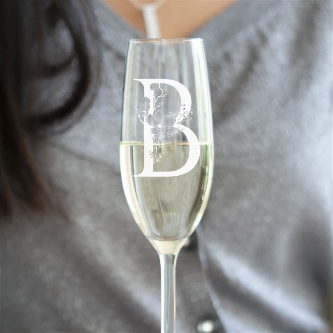 Floral Initial Champagne Flute