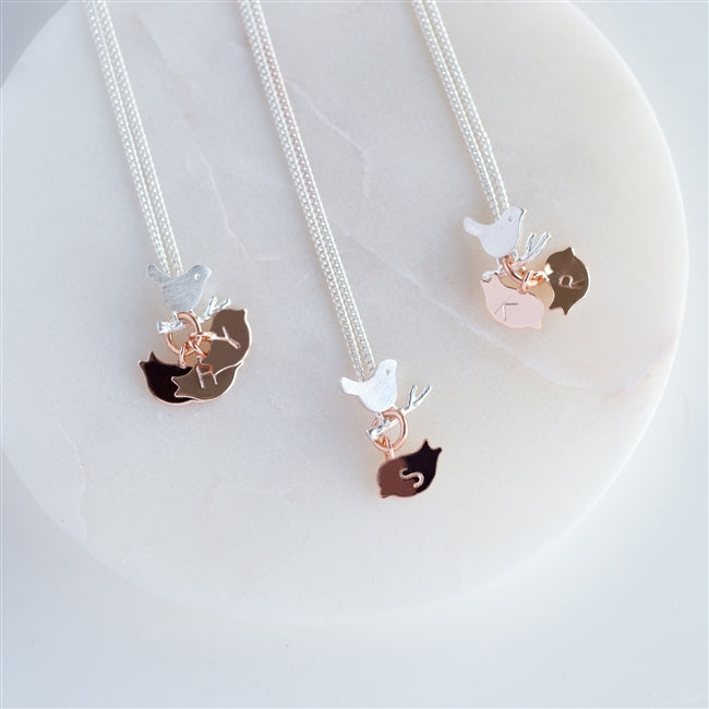 As a standard your bird necklace will come with one rose gold bird attached, please choose from the dropdown menu how many birds you would like, with the number of birds being equal to your number of children.