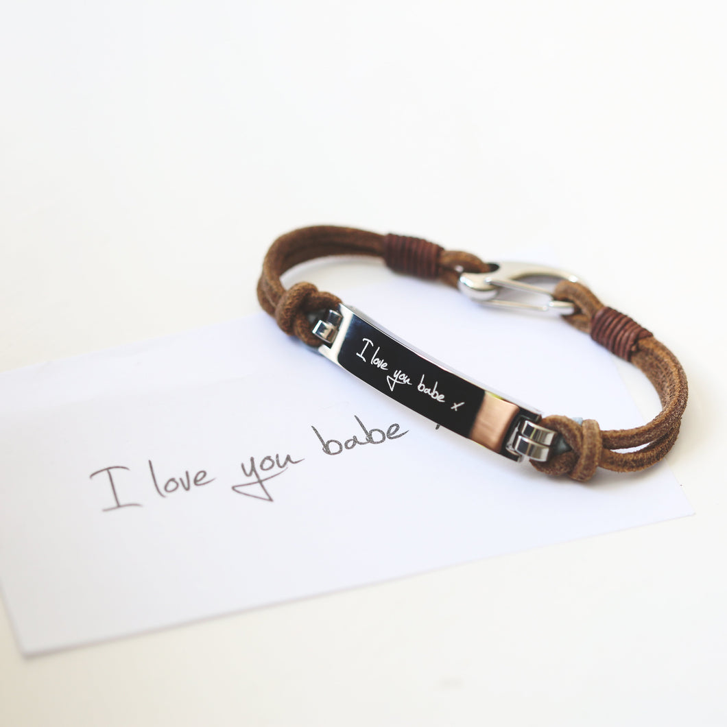 Men's Leather Tan Bracelet - Wear We Met