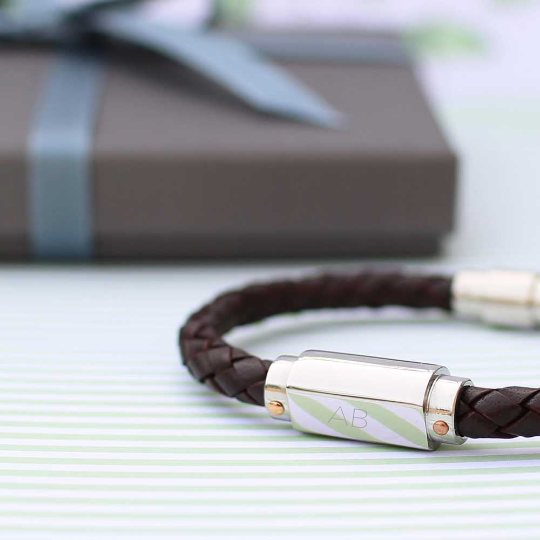 Personalised Twisted Leather Bracelet - Wear We Met