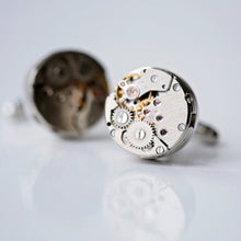 Load image into Gallery viewer, Engraved Gear Movement Cufflinks - Wear We Met