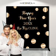 Load image into Gallery viewer, Pop Fizz Clink Photo Booth Backdrop, Black and Faux Gold backdrop, New Year Eve party, any type of event, Printed or Printable File