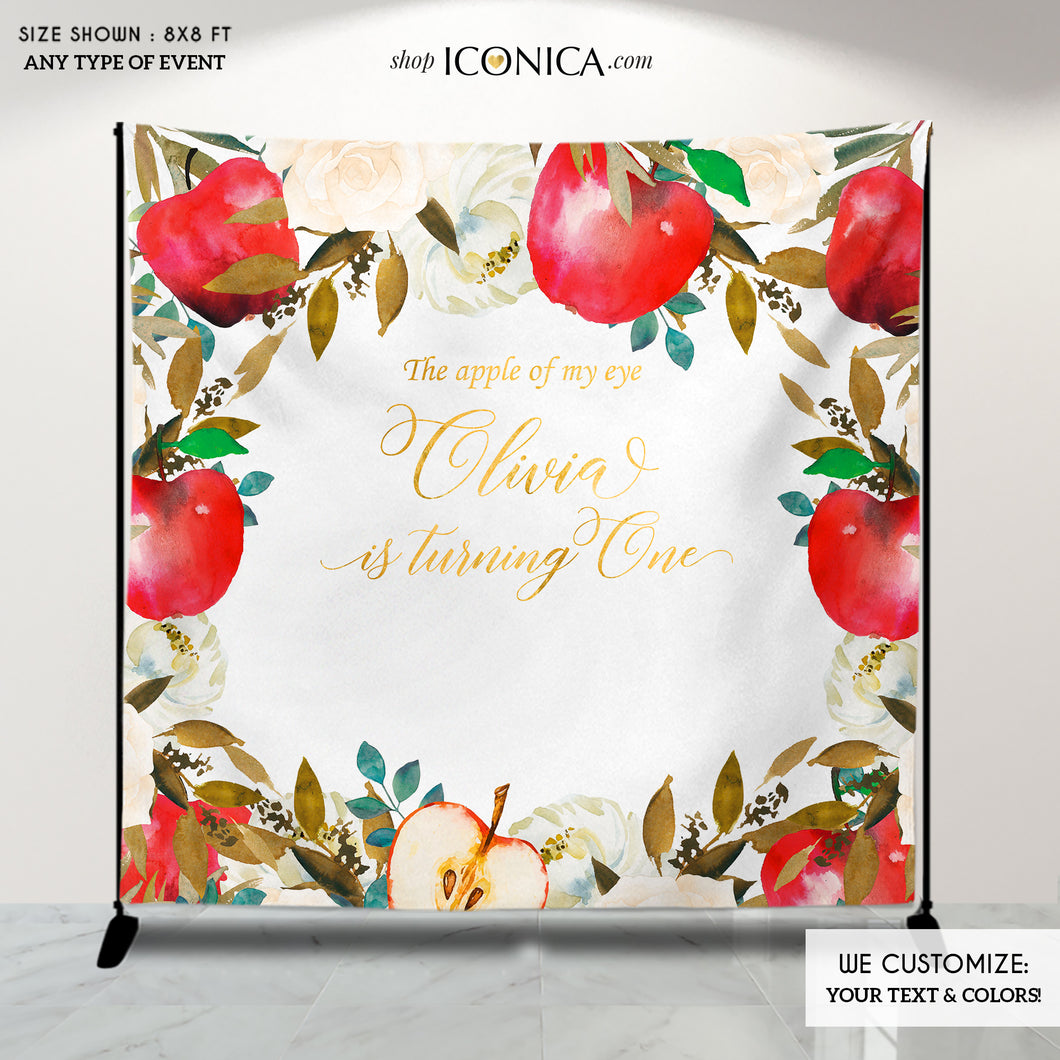Apple of my eye Backdrop Apple Backdrop Personalized Fall Party Backdrop Fruit Party Photo Booth {Apple of my eye Collection}