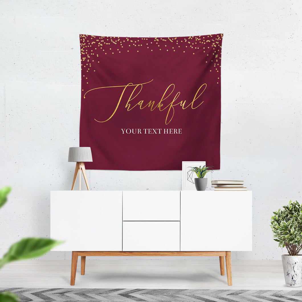 Burgundy Thanksgiving Decor, Thanksgiving Backdrop,Thanksgiving Dinner,Thanksgiving Feast Banner, Printed vinyl Banner, Ready to Ship