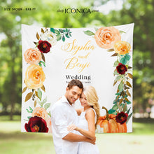 Load image into Gallery viewer, Fall in Love Backdrop Fall Wedding Backdrop Personalized Fall Party Backdrop Fall in love Photo Backdrop {Amber Collection}