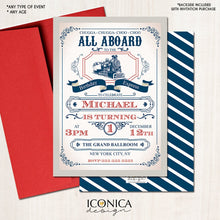 Load image into Gallery viewer, Train Birthday Invitation - Vintage Train Invitation Red and Blue Choo Choo Party Any Age - Printed or Printable File Free Shipping IBD0049