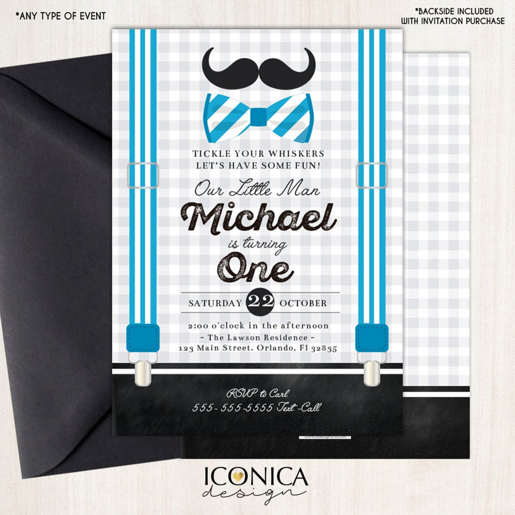 Little Man First Birthday Invitation Mustache Birthday Bowtie Party Any Age Printed or Printable File Free Shipping IBD0018