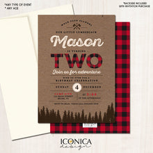 Load image into Gallery viewer, Lumberjack First Birthday Birthday Invitation Buffalo Plaid Wilderness Lumberjack Invitation Printed or Printable File Free Shipping IBD0011