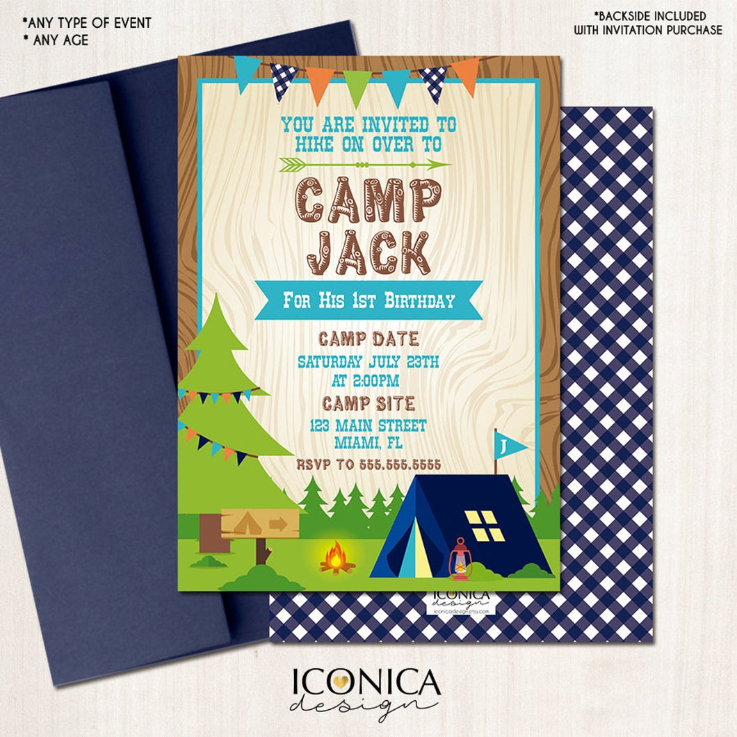 Camping Birthday Invitation Camp out Invitation Boy Camp || Blue Ginghams || Any type of event | Any Age Any Color Printed or Printable File