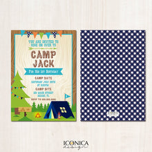 Load image into Gallery viewer, Camping Birthday Invitation Camp out Invitation Boy Camp || Blue Ginghams || Any type of event | Any Age Any Color Printed or Printable File
