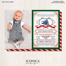 Load image into Gallery viewer, Baby announcement card Green, Announcement Card, Train Card, Birthday Announcement, Any Age, Printed or Printable File, Free Shipping IBD0016